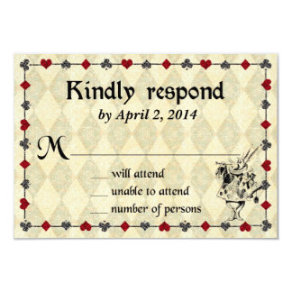 Alice in wonderland wedding invitations announcements zazzle alice in wonderland response card wedding pronofoot35fo Gallery