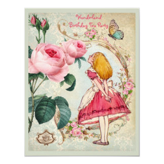 Alice in Wonderland Roses Collage Birthday Party 4.25x5.5 Paper Invitation Card