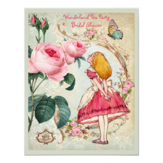 Alice in Wonderland Roses Collage Bridal Shower 4.25x5.5 Paper Invitation Card