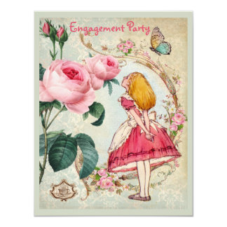 Alice in Wonderland Roses Collage Engagement Party Card