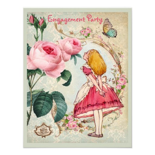Alice in Wonderland Roses Collage Engagement Party Personalized Invites