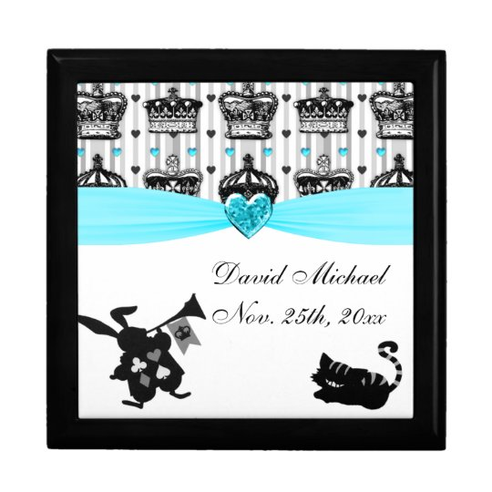 Alice In Wonderland Royal Crowns Baby Shower Keepsake Box