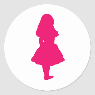 Alice In Wonderland Salmon Fuschia Pink Classic Round Sticker