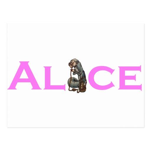 Alice in Wonderland Salmon Pink Post Cards
