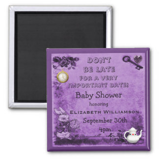 Alice in Wonderland Save The Date Baby Shower 2 Inch Square Magnet