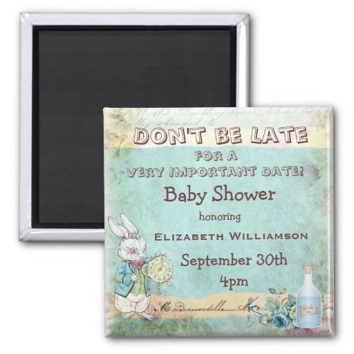 Alice in Wonderland Save The Date Baby Shower Magnets