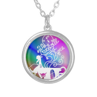 Alice in Wonderland. Silhouette illustration Silver Plated Necklace