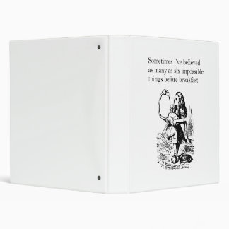 "Alice in Wonderland, ""Six Impossible Things"" Binder"
