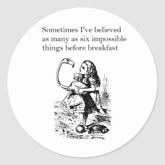 "Alice in Wonderland, ""Six Impossible Things"" Classic Round Sticker"