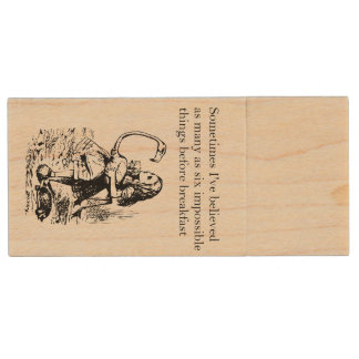 """Alice in Wonderland, """"Six Impossible Things"""" Wood USB Flash Drive"""