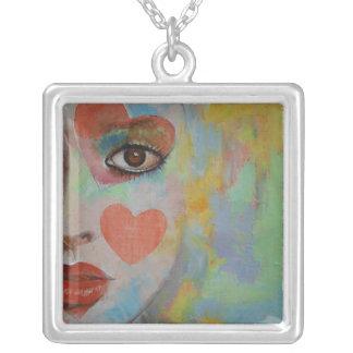 Alice in Wonderland Square Pendant Necklace