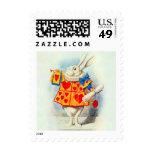 Alice in Wonderland Stamp Rabbit Red Hearts