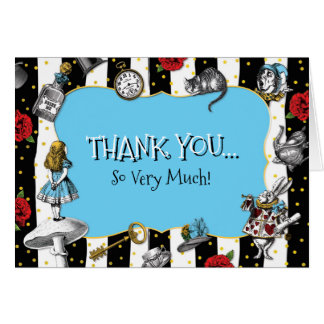 Alice in Wonderland Striped Blue Thank You Card