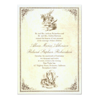 Alice in wonderland tale wedding invitations