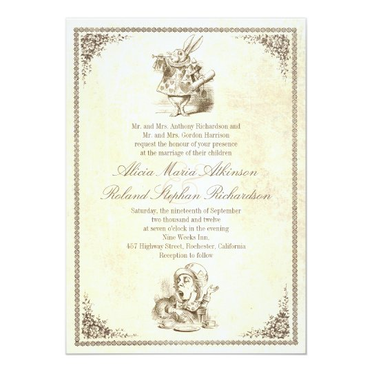 Alice And Wonderland Wedding Invitations: Alice In Wonderland Tale Wedding Invitations
