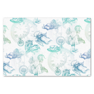 """Alice in Wonderland Tea Blue Green Tissue Paper 10"""" X 15"""" Tissue Paper"""