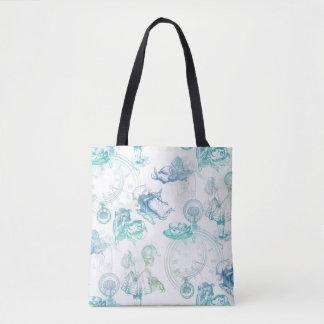 Alice in Wonderland Tea Blue Green Tote Bag