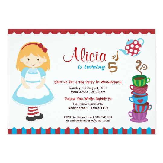 Alice in Wonderland Tea Party Card