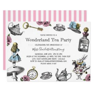 Alice In Wonderland Tea Party Stripes Invitation