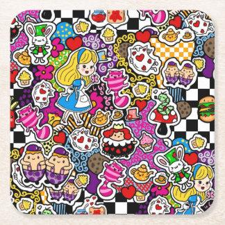 Alice in Wonderland Tea Party Supplies Square Paper Coaster