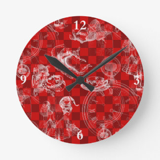 Alice in Wonderland Teatime Red Check Clock