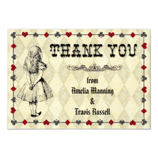 "Alice in Wonderland Thank You Card - Wedding 3.5"" X 5"" Invitation Card"