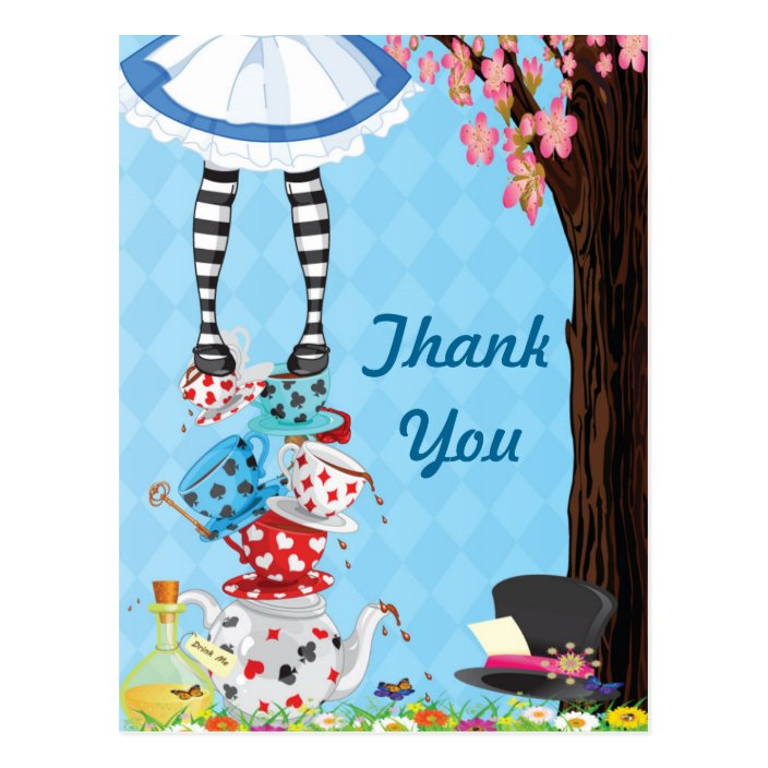 Alice in Onederland First Birthday Thank Your Card Folded or Flat Baby Shower Thank You Card Alice Alice in Wonderland Thank You Card