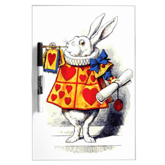 Alice in Wonderland The White Rabbit by Tenniel Dry Erase Board
