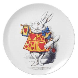 Alice in Wonderland The White Rabbit by Tenniel Melamine Plate
