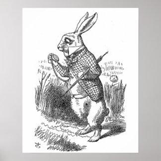 Alice in Wonderland the White Rabbit vintage Poster
