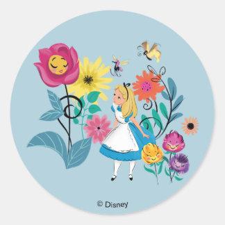 Alice in Wonderland | The Wonderland Flowers Classic Round Sticker