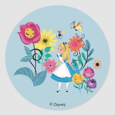 Disney Themed Alice in Wonderland | The Wonderland Flowers Classic Round Sticker