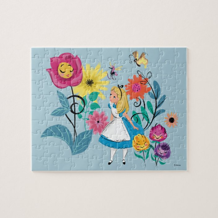 Alice In Wonderland The Wonderland Flowers Jigsaw Puzzle Zazzle Com