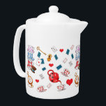 "Alice in Wonderland Theme Pattern Teapot<br><div class=""desc"">Cute Alice in Wonderland themed teapot.</div>"