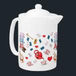 "Alice in Wonderland Theme Pattern Teapot<br><div class=""desc"">Cute Alice in Wonderland themed teapot.</div>"