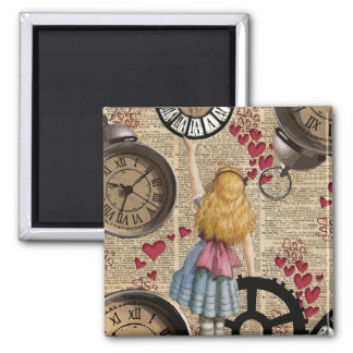 Alice In Wonderland Travelling in Time 2 Inch Square Magnet