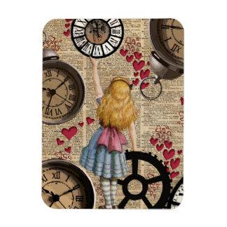 Alice In Wonderland Travelling in Time Rectangular Photo Magnet