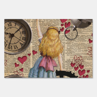 Alice In Wonderland Travelling in Time Sign