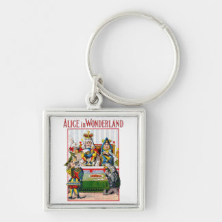 Alice in Wonderland - Trial of the Knave of Hearts Silver-Colored Square Keychain