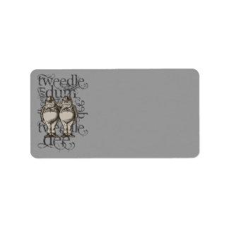Alice In Wonderland Tweedledum & Tweedledee Grunge Label