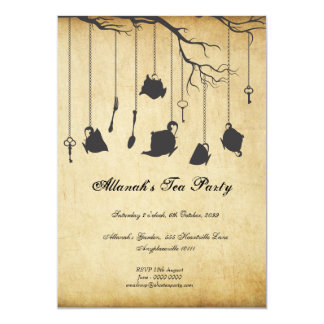 Alice in Wonderland Unbirthday Birthday Tea Party 5x7 Paper Invitation Card