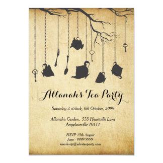"Alice in Wonderland Unbirthday Birthday Tea Party 5"" X 7"" Invitation Card"