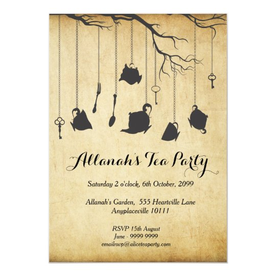 Alice In Wonderland Unbirthday Birthday Tea Party Invitation
