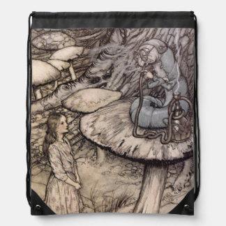 Alice in Wonderland Vintage Catepillar Drawstring Backpack