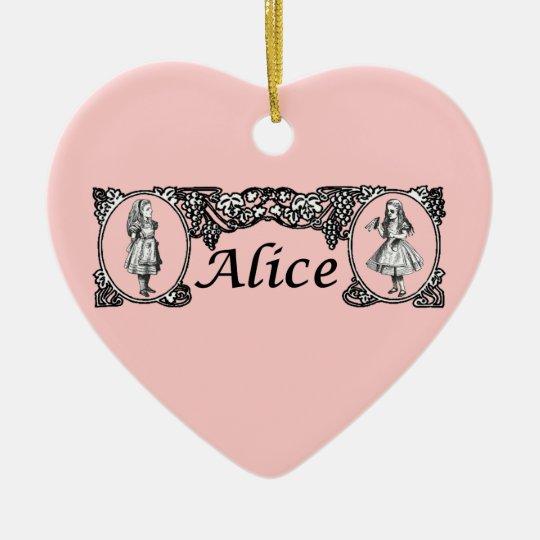 Alice in Wonderland Vintage Frame Ceramic Ornament