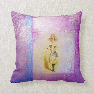 Alice in Wonderland Vintage Iridescent Purple Blue Pillows