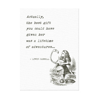 Alice In Wonderland W/Flamingo Adventure Quote Canvas Print