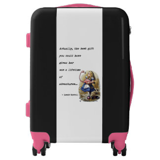 Alice In Wonderland W/Flamingo Adventure Quote Luggage