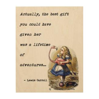 Alice In Wonderland W/Flamingo Adventure Quote Wood Print
