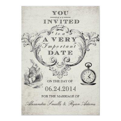 alice in wonderland wedding invitation card zazzlecom - Alice In Wonderland Wedding Invitations